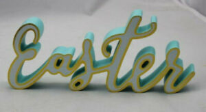 """Sign Happy Easter Script Plastic 1"""" x 10"""" x 4.25""""  Holiday Light Blue White Gold"""