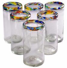 Orion Mexican Glassware Confetti Rim Perfecto Tumbler 16 oz. - Set of 6
