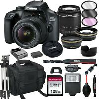 Canon EOS 4000D / Rebel T100 SLR Camera+ 18-55mm Lens+ 128GB + 20PC Bundle