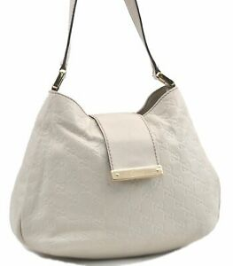 Authentic GUCCI Guccissima GG Leather Shoulder Hand Bag 211934 White D1359