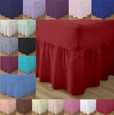 Plain Frilled Fitted Valance Bed Sheets Poly Cotton Pillowcases Sold Separately