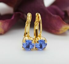 Choose Your Finish Sapphire Leverback Earrings with Swarovski Crystal Elements