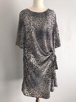TARGET Size 14 Black / Beige Animal Print Sheath Dress Gathered Waist 1/2 Sleeve