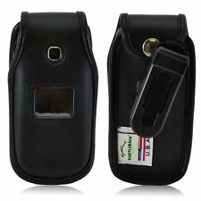 Turtleback LG 450 Flip Phone Black Leather Fitted Case with Ratcheting Belt Clip