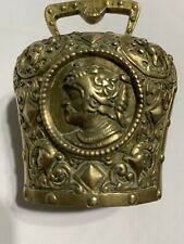 Heavy Antique European Figural Brass Cow Bell Crusader Griffin Ornate Relief
