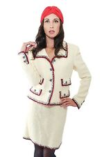 CHANEL 06A Ivory Tweed Lesage Jeweled Blazer & Skirt Suit w/ Aztec Border US 10