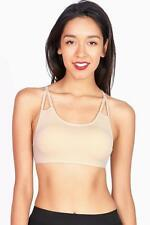 Lounge Style Bralette w Strappy Design Removable Pads Great Layering Bra Stretch