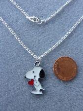 "Snoopy Heart Enamel Charm Pendant Necklace 18"" Birthday Gift Present # 165"