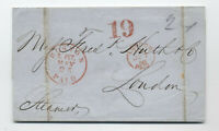 1858 Boston to London transatlantic stampless 19 credit [H.360]