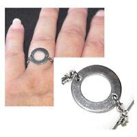 Bague fine chaine chainette acier (coul argent ) cercle minimaliste bijou