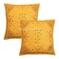 Indian Cushion Cover Art Deco Embroidered Yellow Cotton Throw Pillow Case Cover