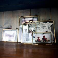 "Nkuku Brass Picture Photo Frame 5 x 7"" Portrait - Kiko Clear Glass Double Sided"