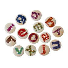100pcs Letters 26 Alphabet Mix 2 Holes 15mm Wooden Buttons