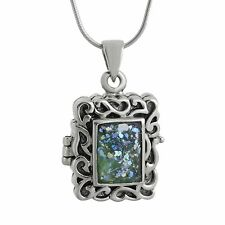 Ancient Roman Glass Locket Necklace -925 Sterling Silver- Family Photo Locket SN