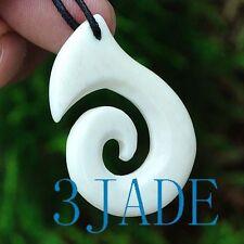 Hand Carved Bone Fish Hook Koru / Swirl Amulet Pendant New Zealand Maori Style