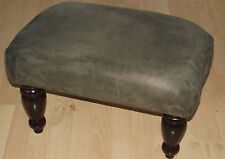 Superb dark brown faux suede footstool with highest quaity dark wood turned legs