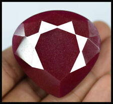 HUGE 44mm (220cts) PEAR-FACET DEEP-RED CERTIFIED NATURAL (EGL) AFRICAN RUBY GEM