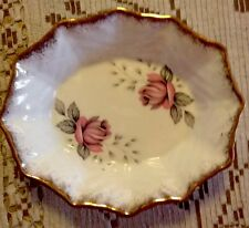 Beautiful Vintage Antique Queen Anne  Fair Lady Bone China Dish Roses And Gold