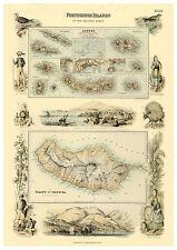 The Azores Madeira Atlantic Ocean illustrated map Fullarton ca.1872