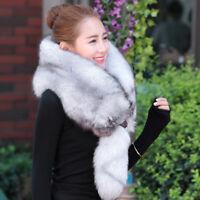 Women Real WHOLE Natural Fox Fur Shawl Cape Wrap Scarf Fur Collar Neck Warmer
