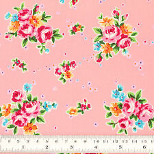 100% Cotton Fabric by FQ Rose Flower Bouquet Shabby Vintage Retro Chic Dress VR4