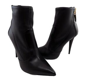 giuseppe zanotti  shoes women black leather size 8.5 made in italy boots ankle