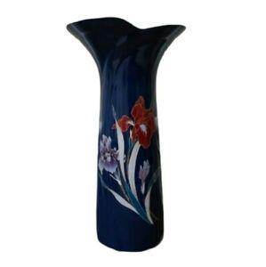 Vintage 1960s Oriental Flower Vase Fine China Made in Japan Blue Flowers Asian
