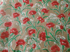 Antique French Carnation Floral Cotton Fabric ~ Red Green White on deep Tan