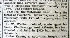 1874 newspaper California outlaw TIBURCIO VASQUEZ is CAPTURED near LOS ANGELES