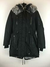Women's Steve Madden Faux Fur Lined Warm Drawstring Winter Coat, Size M - Black