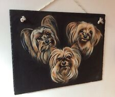 Quality Portrait Trio of Yorkshire Terrier Dogs Painted on Slate Signed