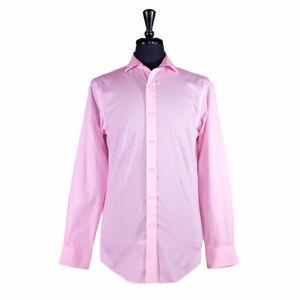 Ralph Lauren Men's Button Up Dress Shirt Cotton Pink Slim Long Sleeve Medium 15