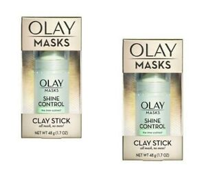 2 Pack Olay Masks Clay Stick Shine Control Tea Tree Extract Absorbs Facial Oil