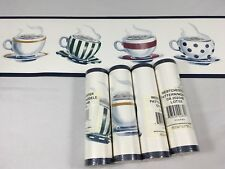 Wallpaper Border Coffeehouse BLUE Coffee Mug Saucer Tea Cup Cappuccino 5 Rolls