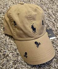 NEW Polo Ralph Lauren Skull Crossbones Baseball Cap Hat Brown FREE Shipping NWT