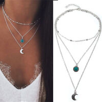 Boho Multilayer Choker Necklace Turquoise Moon Chain Silver Women Jewelry Hot