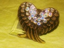 Angel Wings Heart Adjustable Cocktail Ring Gold Tone Antique Crystal