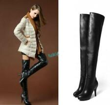Women Black Side Zipper Genuine Leather Shoes Over the Knee Thigh High Boots New