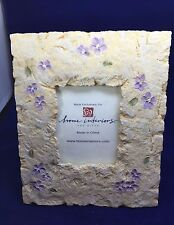 """HOME INTERIORS Ceramic Picture Frame with Purple Violets - 7.5"""" x 9"""""""
