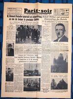 La Une Du Journal Paris-soir Mardi 31 Janvier 1933 Hitler Chancelier Du Reich