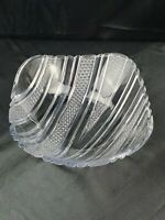 "Vtg Square Glass Bowl lovely stripes with beveled detailing Large 9.5"" across"