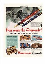 VINTAGE 1942 WATERMAN'S COMMANDO PEN & PENCIL MILITARY TRIGGER QUICK AD PRINT