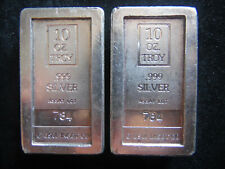 Very Rare 2 Stackable A Mark Silver Bars From The Same Assay Lot 10 Troy Oz 999