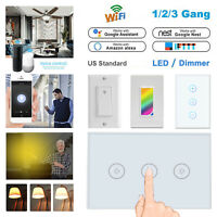 Smart Touch Wi-Fi Wall LED Light Switch Panel Remote Work With Alexa Google Home