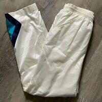 Vintage Pony Track Sweat Pants S White Nylon Lined Pockets Elastic Drawstring