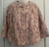 DKNY Jeans Size M Brocade Tapestry Jacket Tan Snap Front 3/4 Sleeve Lined Pocket