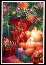 Vintage Hallmark Card Teddy Bear Tree Ornaments Presents Bows Greeting Card New