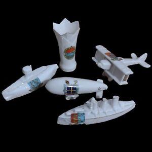 Carlton Ware Crested China Lot Acadian and Others Airship Submarine Plane Vase