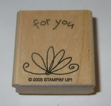 For You Rubber Stamp New Stampin Up Swirl Flower Gift Tag Wood Mounted Retired