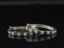 Blue Diamond Hoops Ladies .925 Sterling Silver Round Huggie Earrings 1/4 Tcw.
